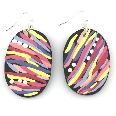 Black and multicoloured abstract oval dangle earrings