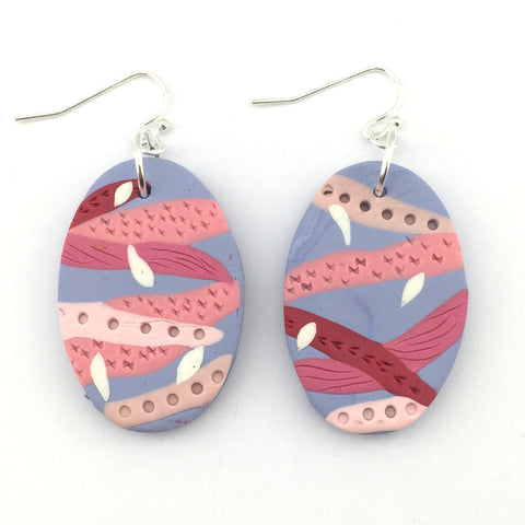 pink and blue abstract dangle earrings