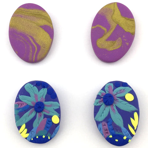 purple and gold marbled ovals and blue floral ovals stud sets