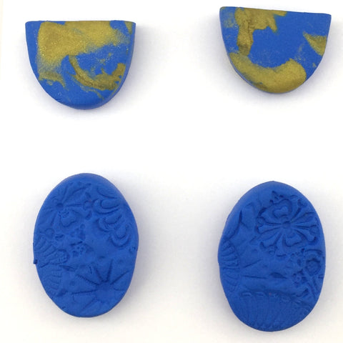 Blue Textured and Gold Marble Stud Sets