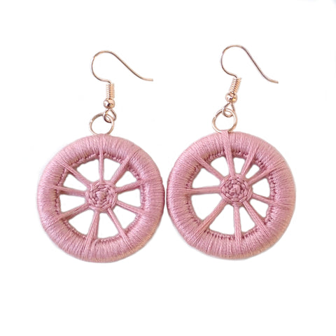 dorset-button-earrings-pink-handmade-sustainable-fashion-gift