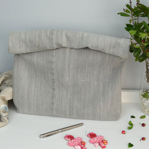 Grey Denim Upcycle Roll Top Clutch