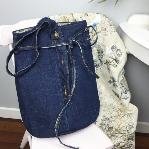 Dark Blue Denim Upcycle Extra Large Bucket Bag