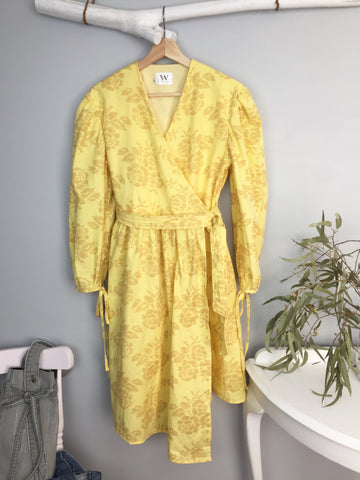 Kia Wrap Dress in Yellow Floral