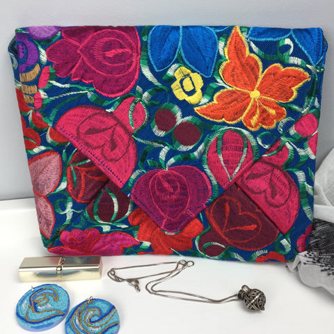 Embroidered Envelope Re-purposed Clutch
