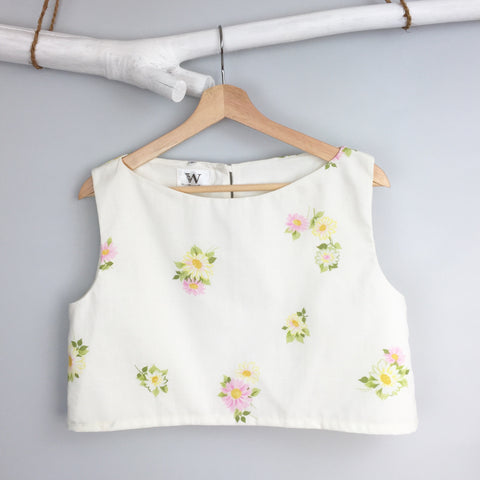 Retro Floral Boxy Crop Top