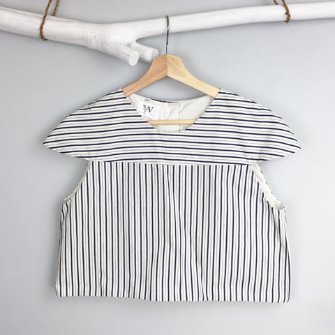 Navy Stripe Boxy Crop Top
