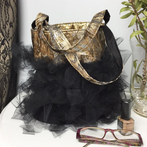 Isa Tulle Mini Bucket Bag- Black & Gold