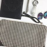 Beige and Brown Houndstooth Check Weave Repurposed Fabric Swatch Zipper Pouch