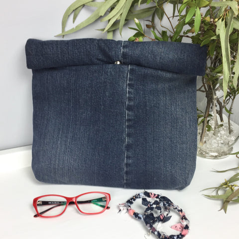 Dark Blue Denim Upcycle Roll Top Clutch