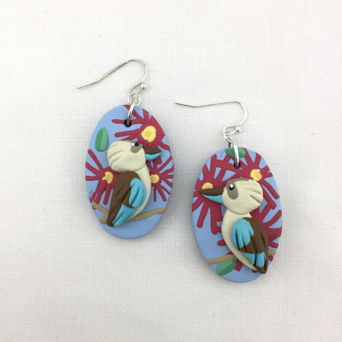 kookaburra dangle earrings