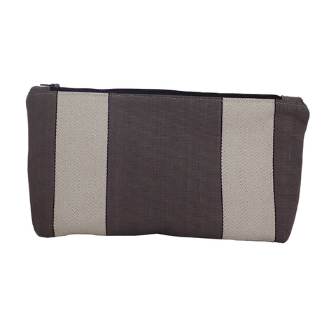 Dark Grey Re-purposed Zipper Pouch