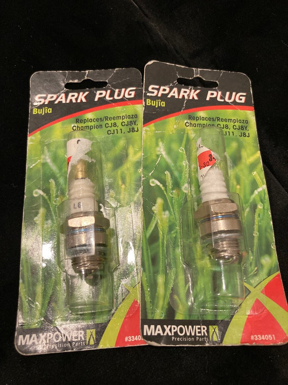 2-Pack MAXPOWER Precision Parts Spark Plugs For Small Engines, #334051 & #334058