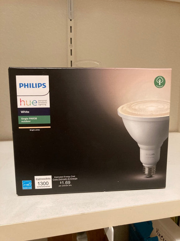 Philips - Outdoor Hue White PAR-38 Smart LED Bulb - White