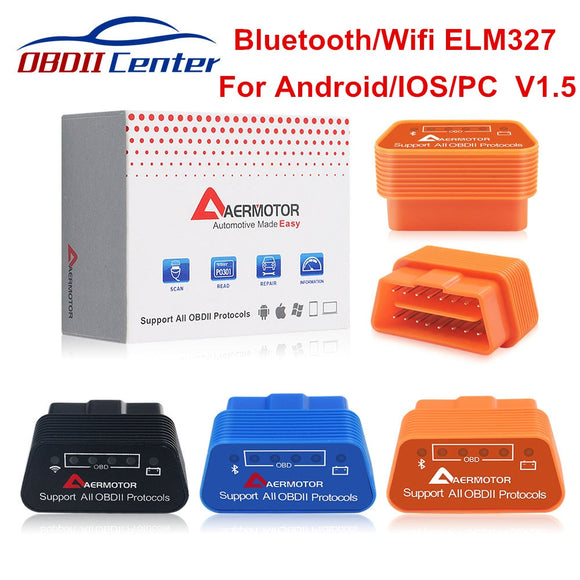 Original Aermotor Wifi ELM327 V1.5 Bluetooth 4.0 ELM 327 1.5 OBD2 Diagnostic Scanner Android IOS Windows Works ELM327 Adapter