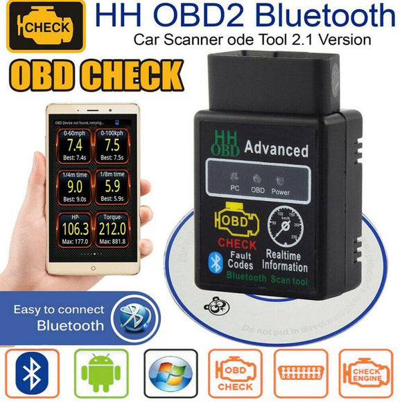 ELM327 V1.5 HH OBD 2 OBDII Car Auto Bluetooth Diagnostic Tool Interface Scanner OBD Version 1.5/HHOBD Version 2.1 Dropshipping