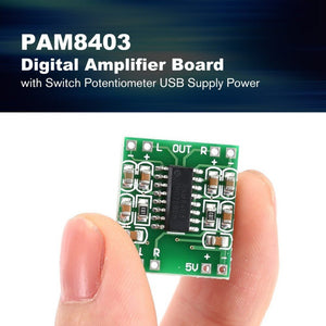 PAM8403 Super Mini Digital Amplifier Board 5V Power Amplifier Board Efficient with Switch Potentiometer USB Supply Power