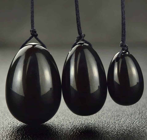 Black Obsidian Yoni Egg Set (Drilled)