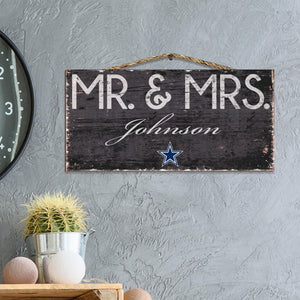 Mr & Mrs Personalized NFL Sign