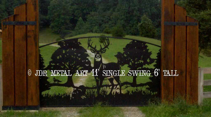Single Swing Wildlife Themed Driveway Gate 11' Wide 6' Tall