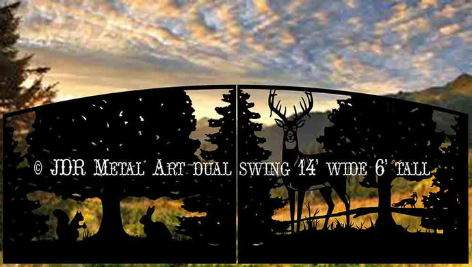 Dual Swing Wildlife Themed Driveway Gate 14' Wide x 6' Tall