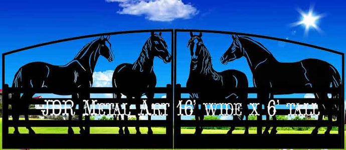 Dual Swing Horse Themed Driveway Gate 16' Wide x 6' Tall