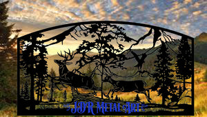 Single Swing Wildlife Themed Driveway Gate 12' Wide x 6' Tall