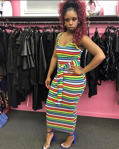 Multi Colored Striped Bodycon with belt