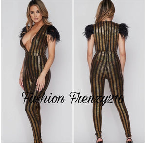 Metallic Striped Jumpsuit with Feather on Shoulder