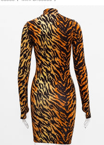 Tiger Stripes Bodycon Dress with gloves