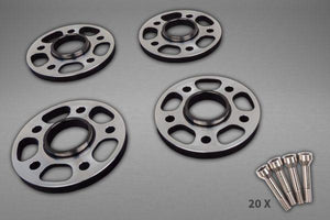 Ferrari 458/FF/F12/812SF – Wheel Spacers 14mm Front / 17mm Rear (Circle Shape) with Titanium Wheel Bolts