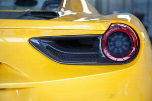 Ferrari 488 GTB & GTS - Carbon Tail Light Covers Exhaust System
