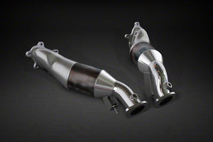 Rear silencer with center pipe, CES-3 , tail pipes anodized aluminum (red, black, silver *) and carbon outer pipe, without approval for MK4 and Nismo
