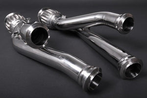 Stainless steel cat replacement pipes with heat protection