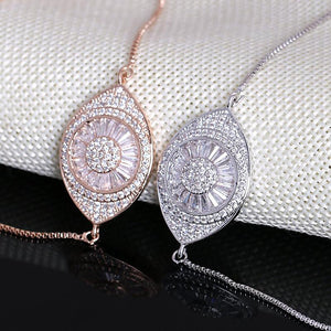 Sparkling Cubic Zirconia Crystal Evil Eye Adjustable - The KOKO Glam
