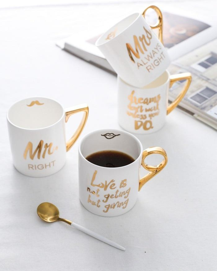 Ceramic Coffee Cups Porcelain Milk Cups Mr Mrs - The KOKO Glam
