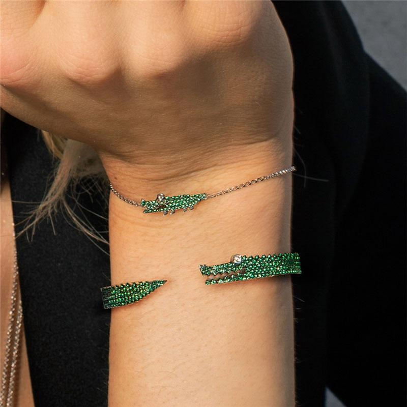 Platinum Plated Crocodile with Micro Green crystals - The KOKO Glam
