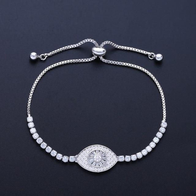 Classic Blue Evil Eye CZ Charm Bracelet - The KOKO Glam