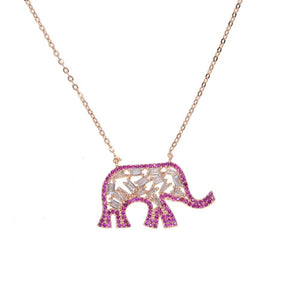 Top quality fine jewelry AAA sparking red cubic zirconia - rose gold color elephant necklace - The KOKO Glam
