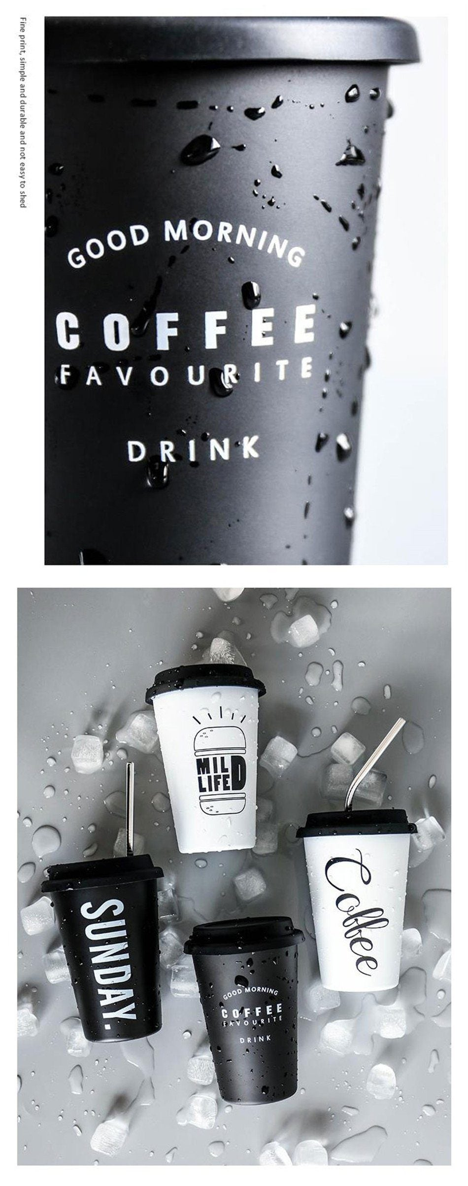 Black White Stainless Steel Silicone Mugs - The KOKO Glam