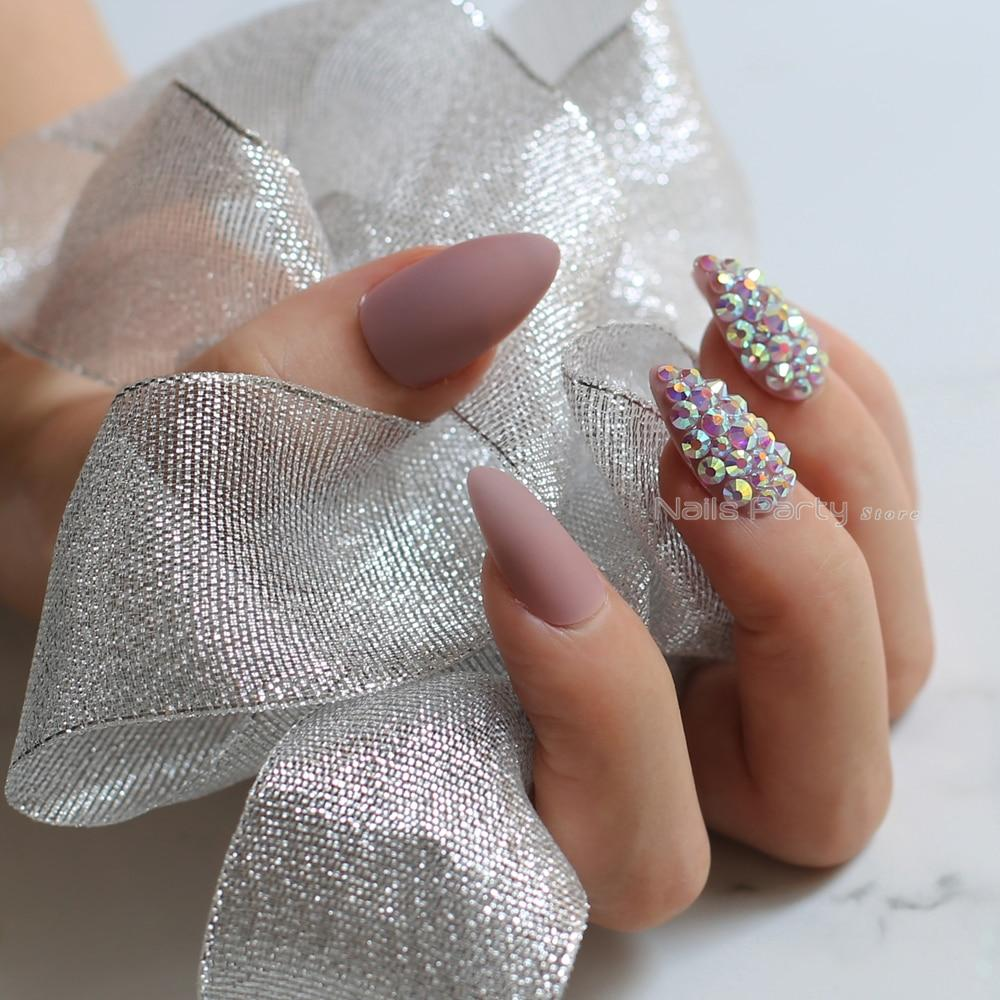 Matte Press On Nails with Crystal Art - The KOKO Glam