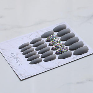 White Matte Pink Press On Nail Bling crystal Nail Art with Stickers 24pcs - The KOKO Glam