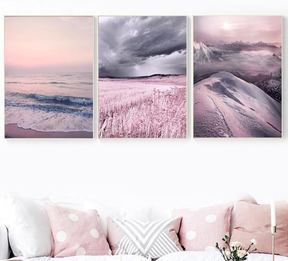 Lavender Sea Wall Painting Purple Nordic Posters - The KOKO Glam