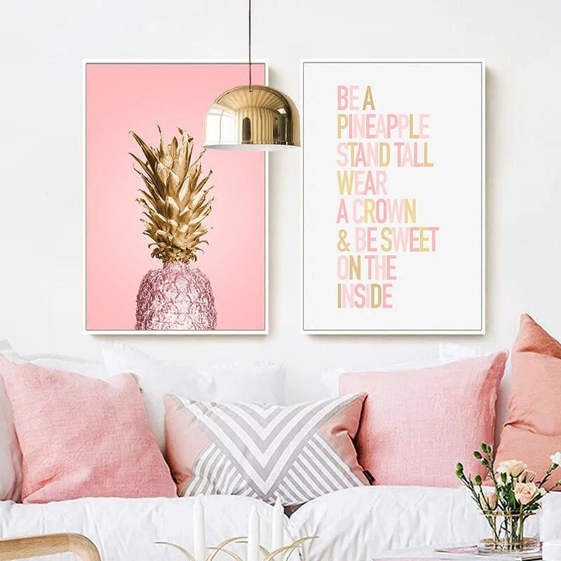 Pink Ananas Posters - Print Home Decoration - The KOKO Glam