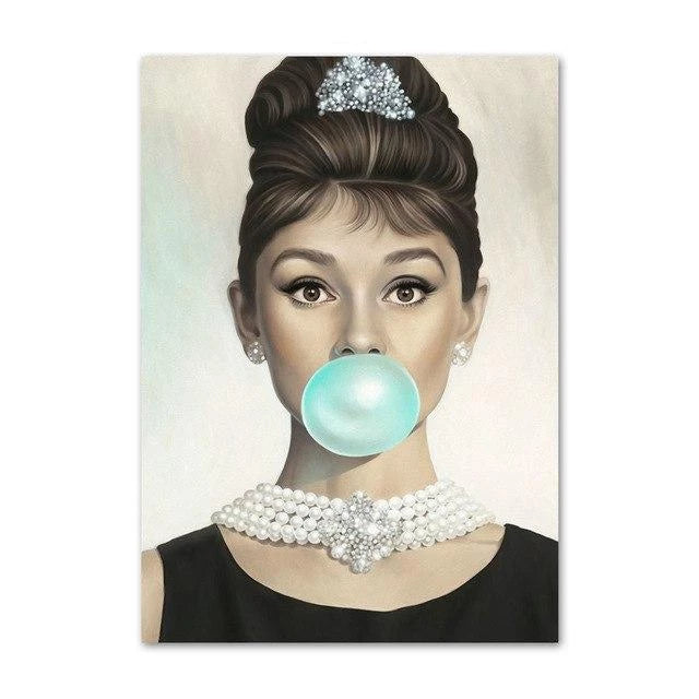 Audrey & Marilyn Cool Bubble Gum Wall Art Canvas - The KOKO Glam