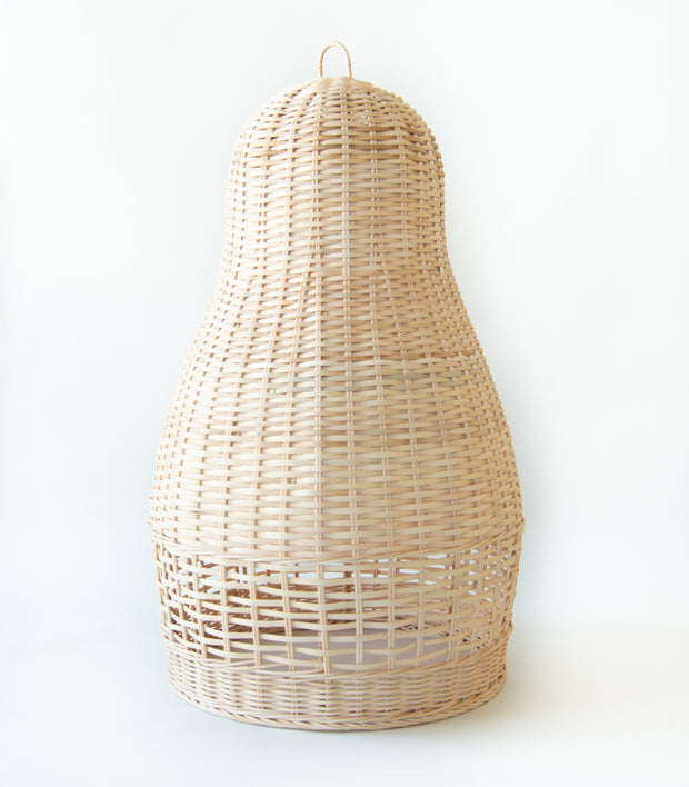 Artisan made pendant light shade made using environmentally friendly material - Rattan. Each light shade measures 50cms height, 40cms width at the widest