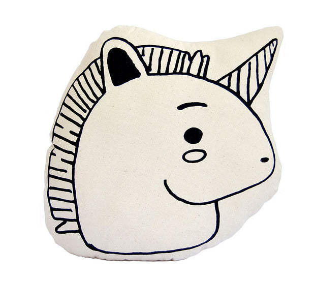 Unicorn animal pillow for nursery decor or kids room decor - fair trade and ethical product