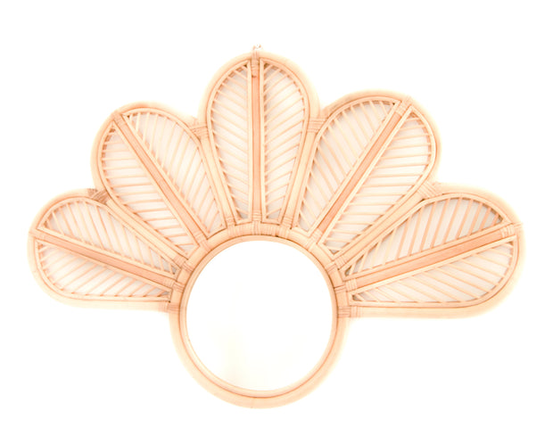 Flower shaped large rattan mirror. Sustainable and eco friendly product made by artisans