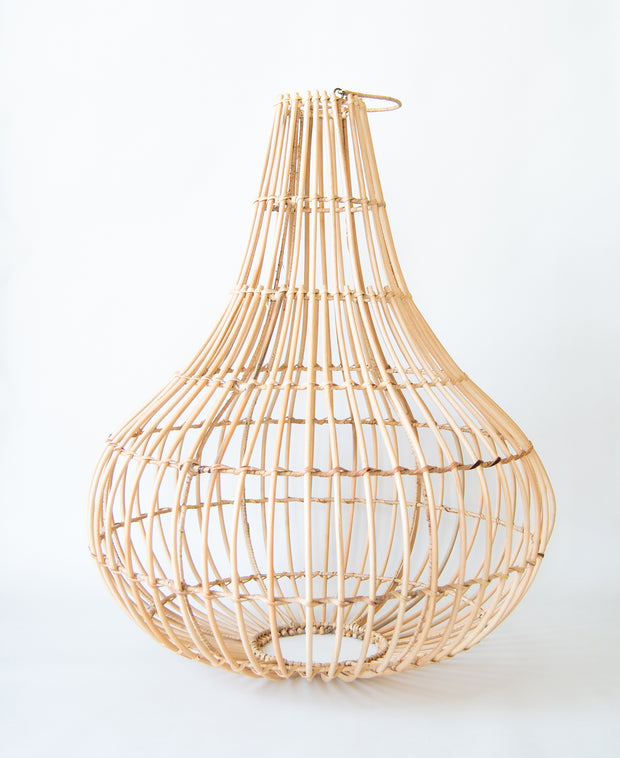 Artisan made pendant light shade made using environmentally friendly material - Rattan. Each light shade measures 80cms height, 60cms width at the widest