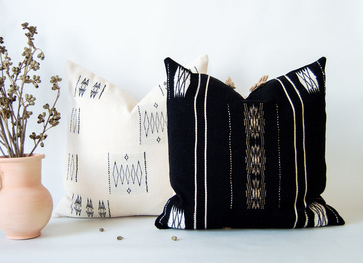 Unique bohemian throw cushion cover woven under Fair trade and ethical conditions by tribal women artisans in India.